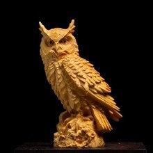 Cczhidao-estatua de búho de madera maciza, criação de animales, adornos, artesanías de tallado, acessos para el hogar, 11/1