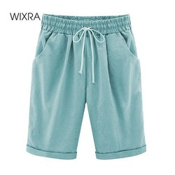 Wixra Women's Lace-Up Shorts Pockets High Waist Solid Casual Streetwear 2020 Summer Women Plus Size