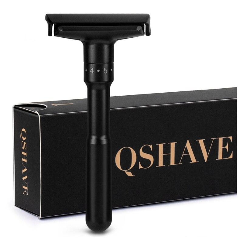 Qshave luxuoso preto ajustável navalha de segurança pode projetar nome nele clássico suporte de segurança navalha de barbear homens 5 lâminas de presente