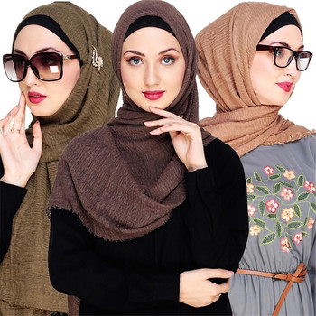 2020 cotton Scarf Crinkle Women Solid muslim Hijabs Muffler Shawls Pashmina Wrap Hijab Scarves Headscarf shawls wrap headband new cotton women scarf solid color crumple retro scarves with short tassels 180cm big shawls muslim female hijabs