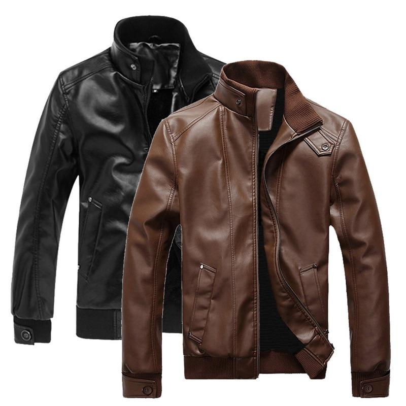 2019 Fashion Men's Leather Jacket Coats Men Motorcycle Long Sleeve Zipper Outwears Casual Autumn Warm Stand Collar Streetwears