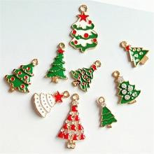 10pcs Christmas Trees Series Charms Enamel Pendant Drop Oil Earrings Bracelets Floating DIY Jewelry Accessory YZ594