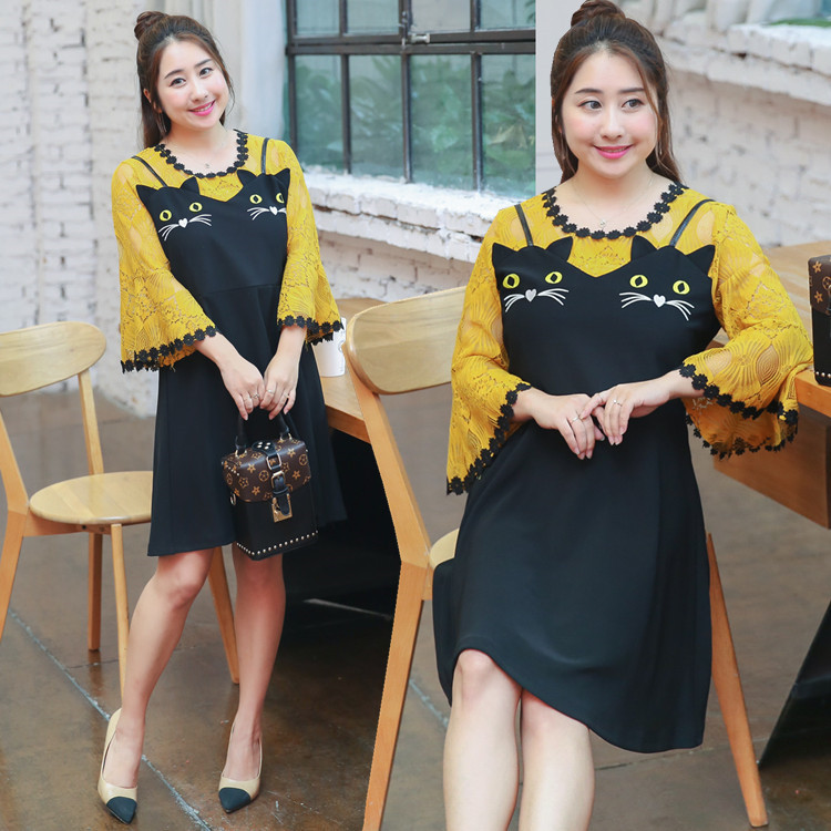 Direct Supply Large GIRL'S Plus-sized WOMEN'S Dress Spring And Summer New Style Cartoon Full Body Dress 0764