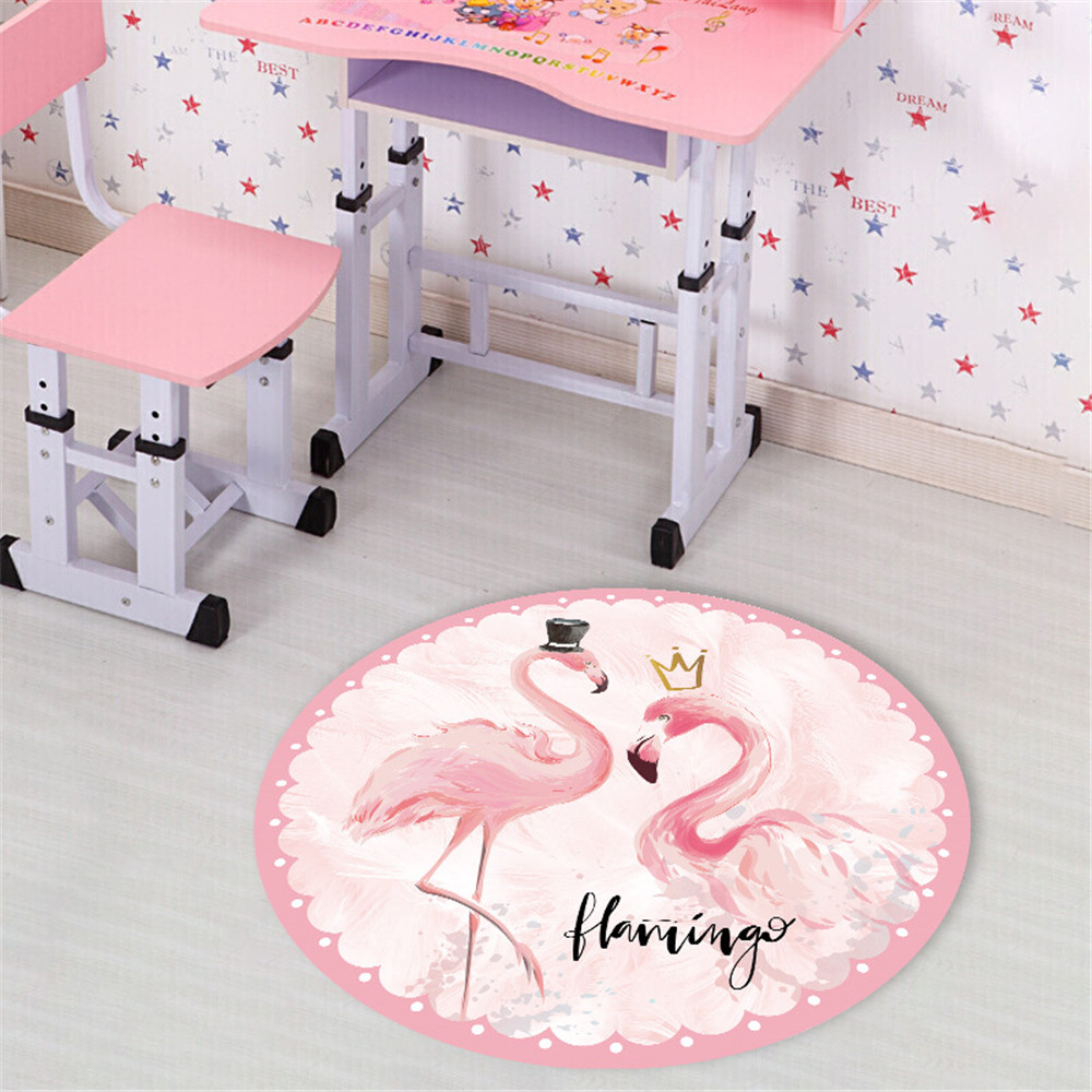 Flamingo Round Carpet For Living Room Computer Chair Area Rug Children Play Tent Floor Mat Cloakroom Rug Nordic Home Decor