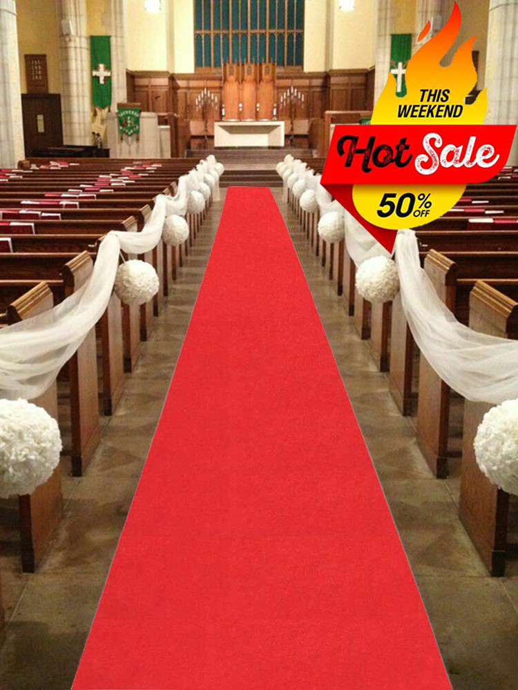 20M 25M 50M Wedding Party Carpet Rug Red White Aisle Runner Decoration For Indoor Outdoor Beach Weddings Thickness:0.8 M