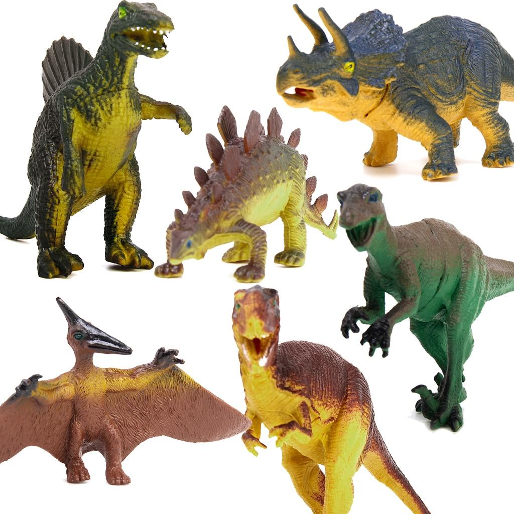 6Pcs Dinosaur Model Set Tyrannosaurus Stegosaurus Triceratops Utahraptor Spinosaurus Pterosaur Kids Children Toy