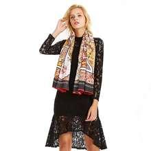 Châle carré en soie pour femmes, écharpe symétrique, marque de luxe, Vintage, 130x130cm, grand motif, en sergé, vente en gros