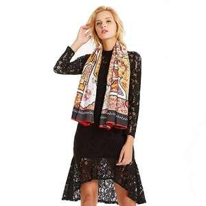 Image 1 - Women Vintage Square Silk Shawl Luxury Brand Symmetrical Scarf 130*130cm Shawls Stole Large Pattern Twill Shawl Wholesale
