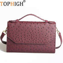 TOPHIGH New Customized Designer Handbag Ostrich Pattern Leather Bags Women Clutch bag Party Evening Trendy Bag Python Tote Bag