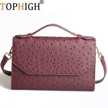 Tophigh novo personalizado designer bolsa padrão de avestruz sacos de couro das mulheres saco de embreagem festa noite na moda saco python tote