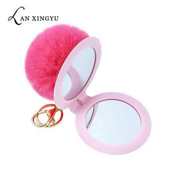 1Pcs 12 Color Cute Puff Ball There Mirror KeyChains  Simple PU makeup mirror Kids woman small gift accessories