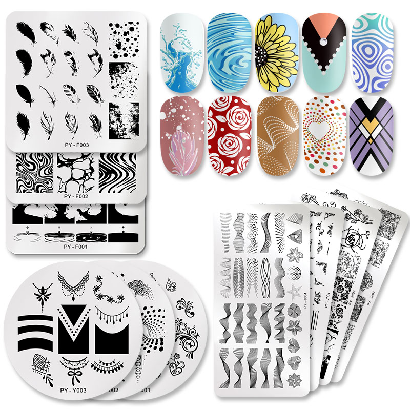 PICT YOU Nail Stamping Plates Flower Rectangle Stainless Steel Image Stencils Template