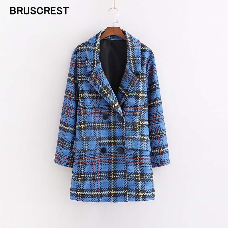 Vintage Houndstooth Plaid Women Blazers And Jackets Elegant Tweed Long Sleeve Coat Streetwear Blue Blaser Feminino