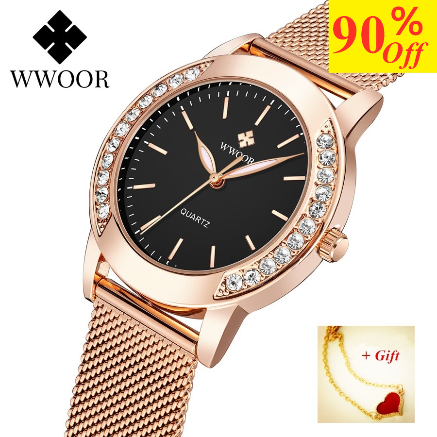New WWOOR Diamond Women Watch Luxury Rose Gold Quartz Ladies Bracelet Watch Woman Casual Wrist Watches Female Clock montre femme