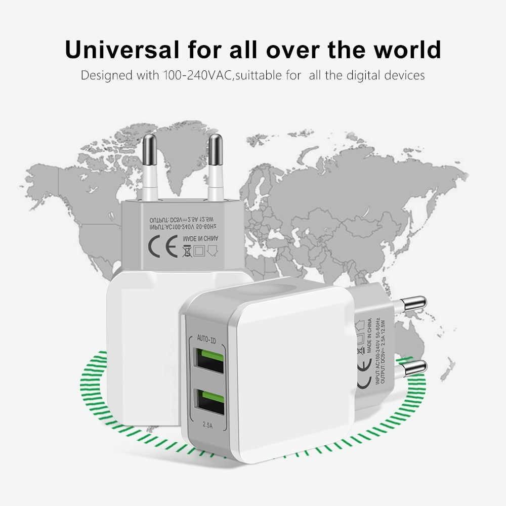 5V 2.5A Đa Năng 2 Cổng USB Sạc Thông Minh Du Lịch Treo Tường Di Động EU Cắm Sạc Điện Thoại Di Động Dành Cho iPhone X Samsung Xiaomi