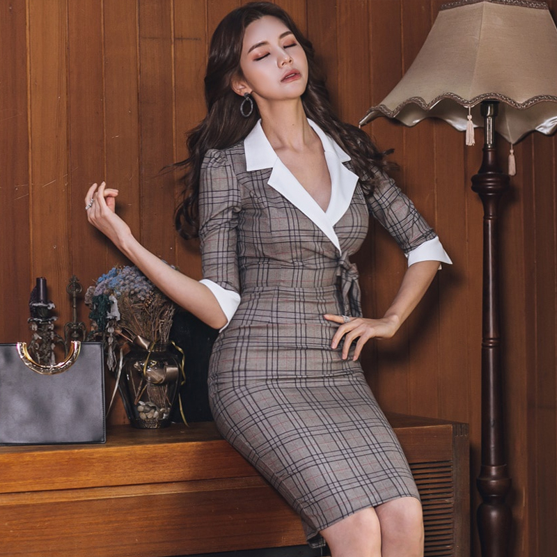 Khaki Dress Office Plaid Bodycon Women Clothes 2019 Bow Lace Up Turn down Collar Formal Dress Women Elegant Midi Pencil Dress in Dresses from Women 39 s Clothing