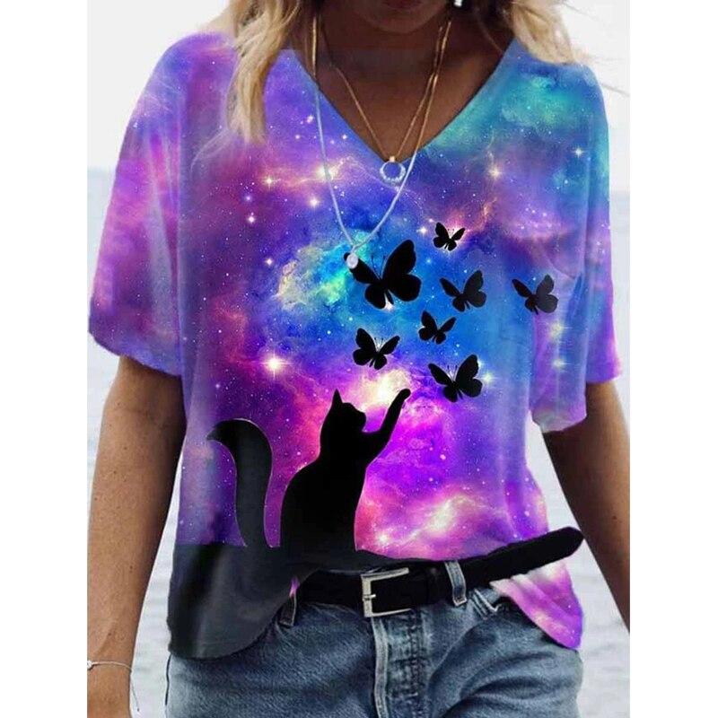 原宿ストリートtシャツ夏ヴィンテージプリントは、女性のカジュアル半袖vネックプラスサイズのtシャツファム女性服