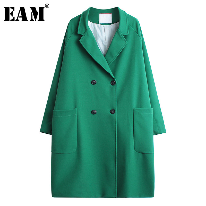 [EAM] Women Double Breatsed Log Big Size Trench New Lapel Long Sleeve Loose Fit Windbreaker Fashion Autumn Winter 2019 1H17401