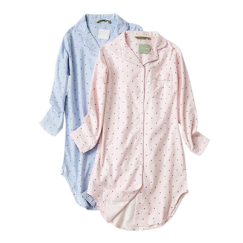 Plus size Autumn nightshirts women nightgowns sleepwear Winter sleepshirts 100% brushed cotton Fresh Women night dress 1