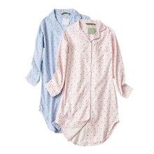 בתוספת גודל סתיו כותונות נשים כותנות לילה הלבשת חורף sleepshirts 100% מוברש כותנה טרי נשים לילה שמלה