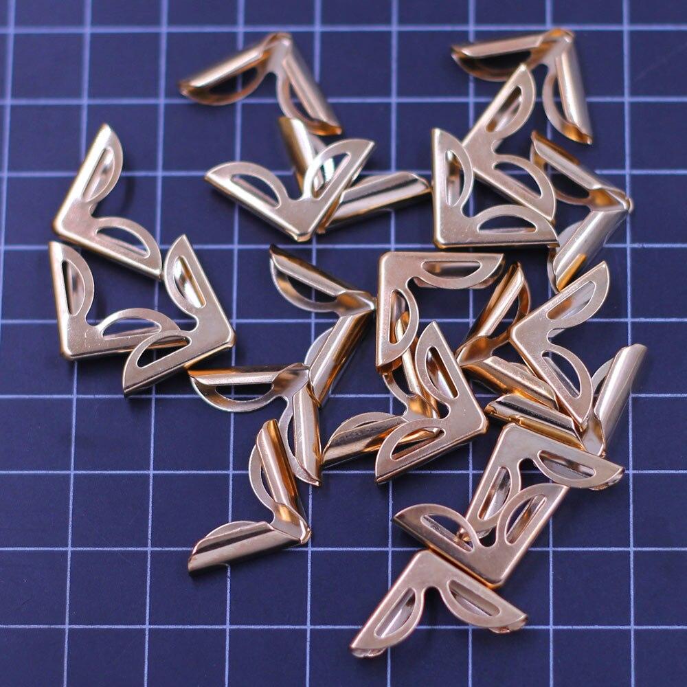 Corner Protector For Photo Book Scrapbooking Albums Menus Folders Hollow Gold Plated Bag Purse DIY Findings 30x21mm 20Pcs