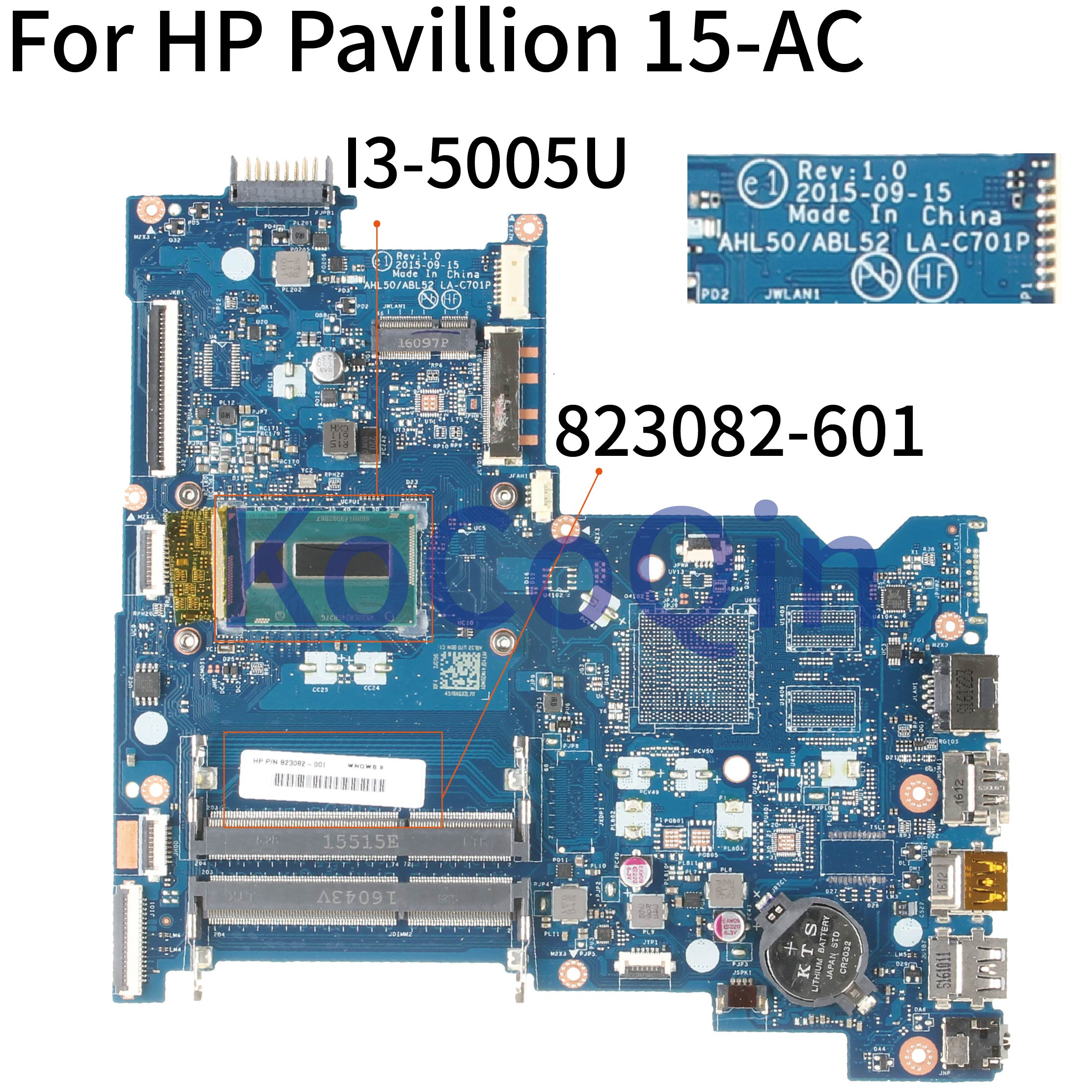 KoCoQin Laptop motherboard For HP Pavillion 15-AC 250 G4 I3-5005U <font><b>SR27G</b></font> Mainboard 823082-601 822041-001 822041-601 LA-C701P image