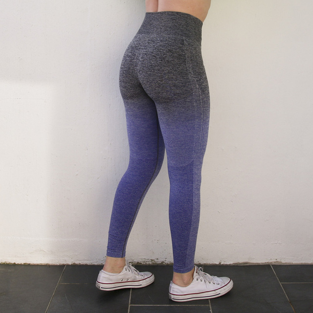 Nepoagym Women Ombre Seamless Leggings In TEAL High Waisted Yoga Pants Training Tights Gym Fitness Leggings 3