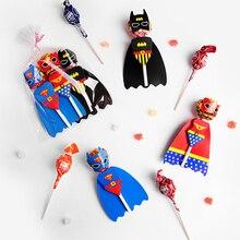 54 шт. Супермен Бэтмен мультфильм конфеты Леденец Украшения карты для детей день рождения принадлежности конфеты подарок аксессуары