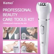 Kemei 5in1 Multifunction Female Epilator electric face cleaning brush hair removal depilation machine depilatory women shaver 5 цена 2017
