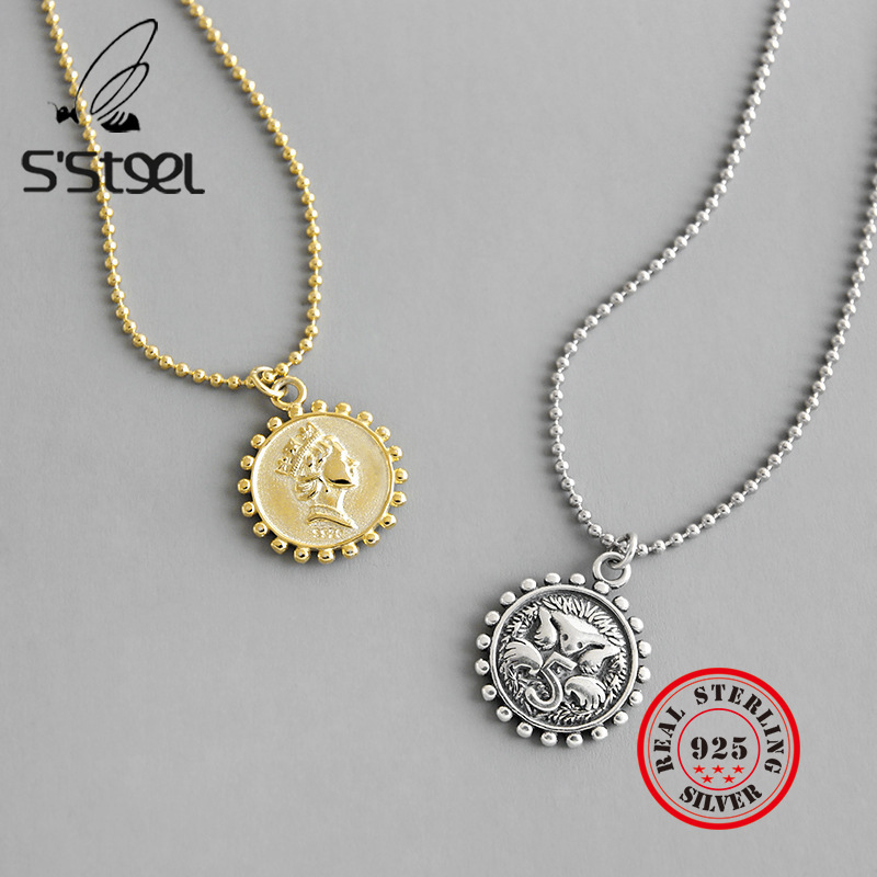 S'STEEL 925 Sterling Silver Pendant Necklace Collar De Plata Mujer Elegantes Valentines Day Gift Bijoux Femme 2019 Fine Jewelry