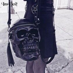 InsDoit женская сумка в стиле панк, готика, черный череп, панк, забавная сумка с головой скелета, уличная сумка Harajuku, винтажные готические аксесс...