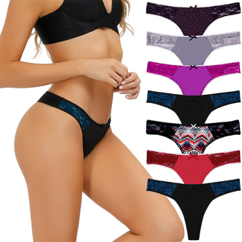7pcs/Pack Womens Thong Underwear Lace Trim Soft Sexy Lingerie Panties Set Assorted Different Pattern & Colors