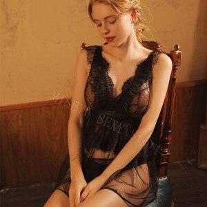 Image 3 - Love Sunset Women Sleepwear Mesh Perspective Slim Strap Nightdress Sexy Temptation Net Gauze Lace Ultra thin Sling Nightgowns