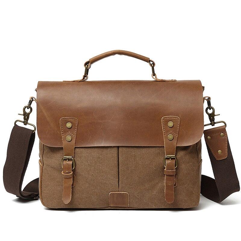 Canvas Briefcase Work-Bag Genuine-Leather Satchel-Bag Messenger-Bag Laptop-Shoulder-Bag