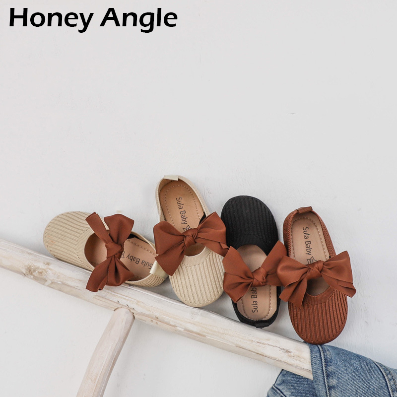 Spring Autumn Fashion 2o2o  Baby Girl Shoes Korean Version Casual Children Shoes Wth Bow-knot Retro Girl Princess Shoes