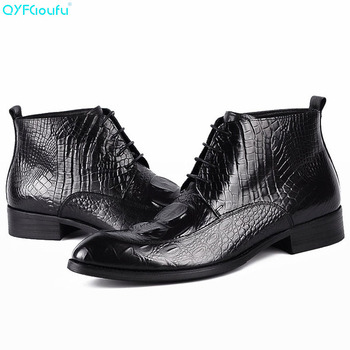 QYFCIOUFU 2019 Lace Up Booties Ankle Boots Men Genuine Cow Leather Mens Alligator Skin Boots High Quality Fashion Boot Man Shoes