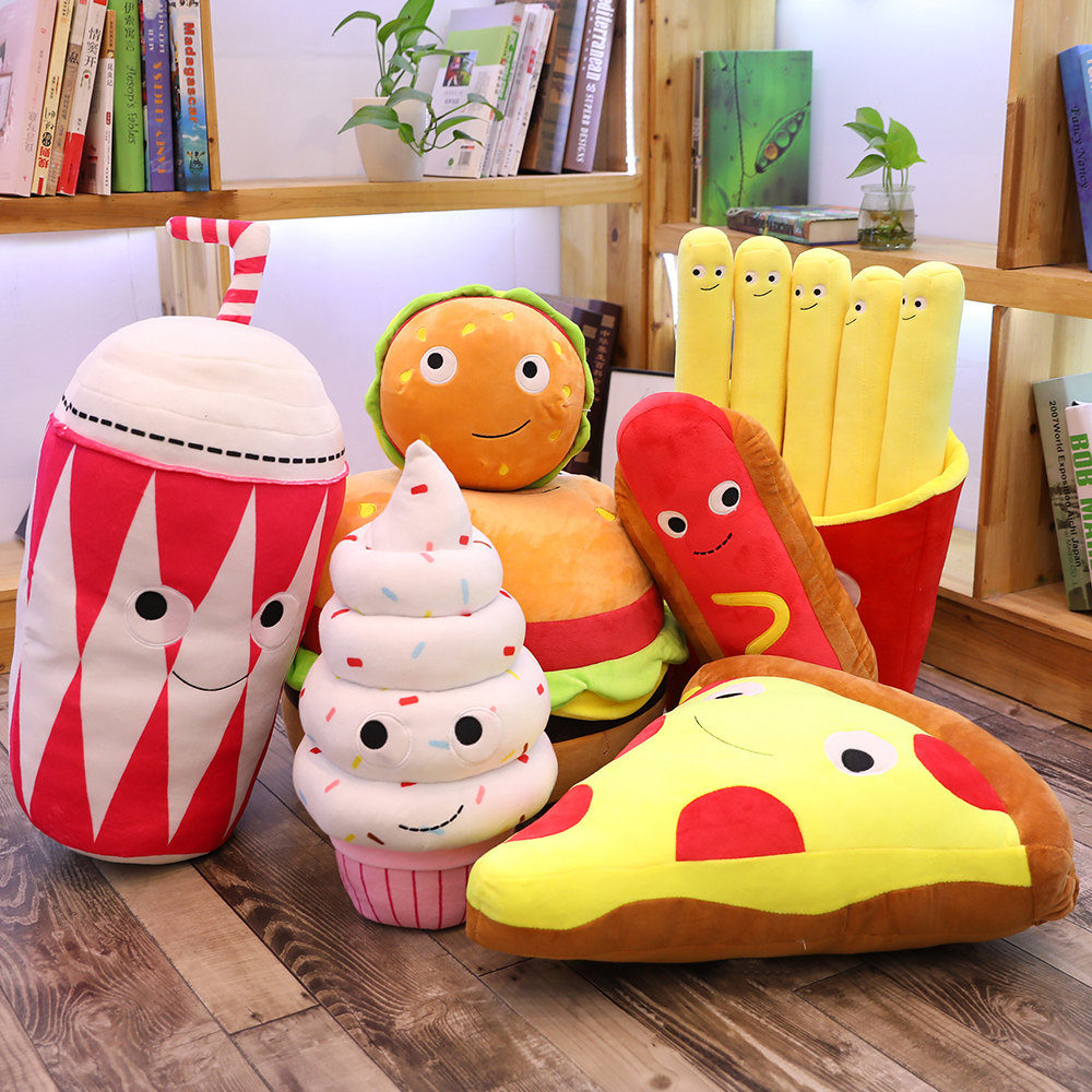 cute  cartoon plush hamburger ice cream french fries toy stuffed food Popcorn cake pizza pillow cushion kids toys birthday gift