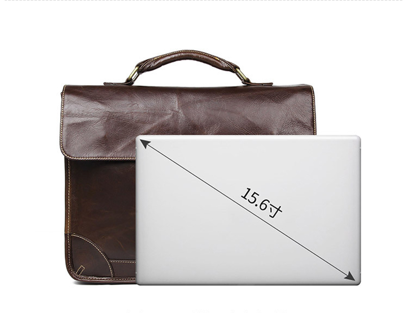 """Hbd3fda69b3ef46e1a7395c31d6b66f9bC Men's genuine leather briefcase 16"""" Big real leather laptop tote bag Cow leather business bag double layer messenger bag"""