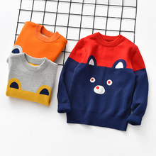 CYSINCOS Autumn Winter Boys Sweaters Cotton Knitted Tops Kids Pullover Clothes Children Cartoon Warm T-shirt Striped Clothing