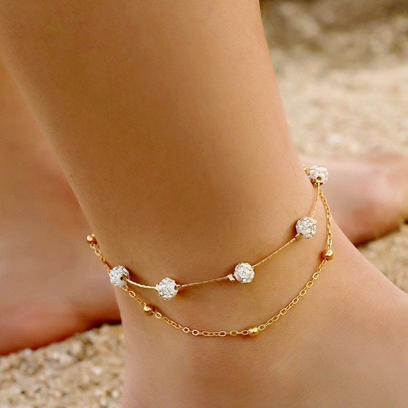 Ankle Bracelet Foot Jewelry Beach Accessories Crystal Rhinestone Foot Chain Anklets For Women Gold Color Leg Bracelet Boho