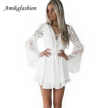 Hollow Out White Dress Sexy Women Mini Chiffon Dress Criss Cross Semi-sheer Plunge V-neck Long Sleeve Crochet Lace Dress Black Y burgundy plunge cami mini dress with lace details