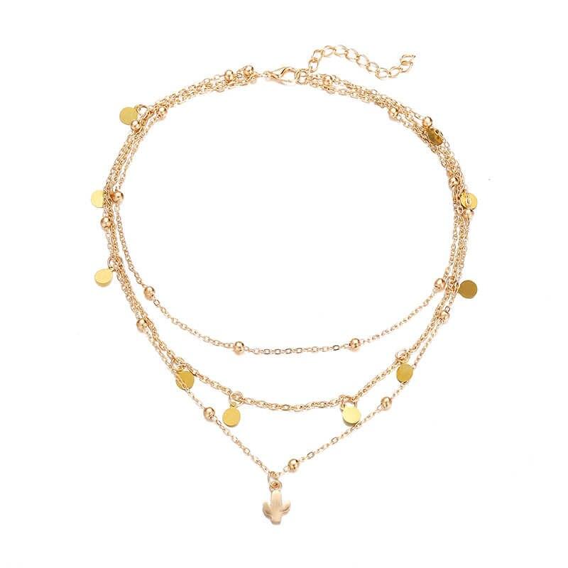 Cekiny kaktus wisiorek naszyjniki wielowarstwowe naszyjnik charms metalowe koraliki w kolorze złotym Necless styl boho kobiety biżuteria akcesoria