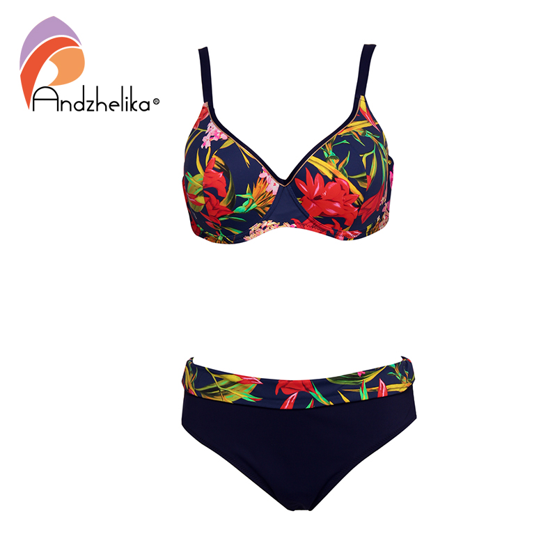 Andzhelika Floral Print Plus Size <font><b>Bikini</b></font> Sets <font><b>Sexy</b></font> <font><b>Push</b></font> <font><b>Up</b></font> Swimsuit Two Pieces Swimwear Women 2020 Beach Bathing Suits image