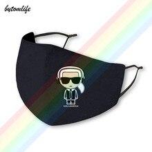 2021 nova música karls moda lagerfeld logotipo máscara impressão clássica lavável respirável reutilizável poliéster máscara boca