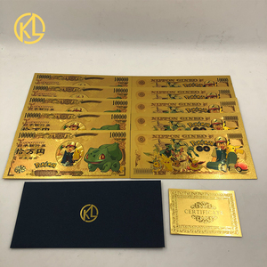 10pcs/lot 5 types Japan Anime Pokemon Cute Animals Bulbasaur Picachu Gold Banknote for Collection(China)