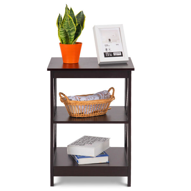 Costway 2PC 3-Tier Nightstand End Table  6