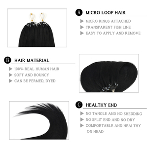 """Image 2 - Neitsi Straight Loop Micro Ring Hair 100% Human Micro Bead link Machine Made Remy Extension 16 """"20"""" 24 """"1 g/s 50g 20 colori"""