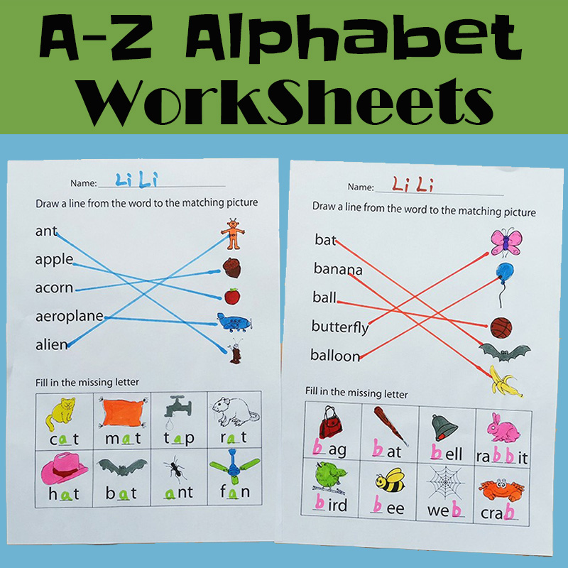 26  Alphabets A-Z Exercises Homework Paper In English Phonics Learning Reading Book For Kids Workbook