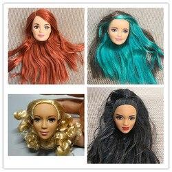 Rzadka kolekcja Doll Heads 1/6 Freckle dołek twarz czerwone usta Curl zielony fioletowy czarne włosy dziewczyna DIY opatrunek zabawki prezenty dla dzieci