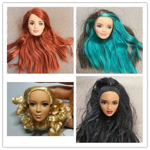 Rare Collection poupée têtes 1/6 tache de rousseur fossette visage rouge lèvres Curl vert violet noir cheveux fille bricolage Dressing jouets enfants cadeaux
